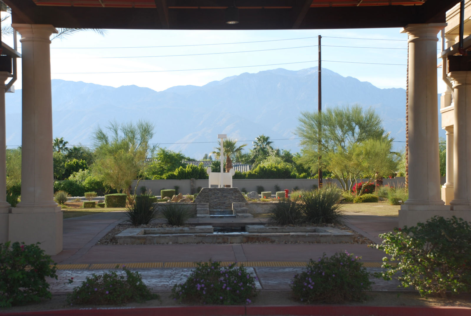 Porte-cochere for disabled patients, behind the majestic Rancho Mirage mountain range.